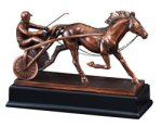 Sulky Racer with Horse - Bronze Resin Sculpture Bronze Resin Awards