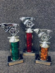 Set of 3 Economy Wheel Figure Pinewood Derby Cars, Cycles and Racing Award Trophies