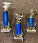 Set of 3 Economy Pinewood Derby with Wreath Riser Trophies   Cars, Cycles and Racing Award Trophies