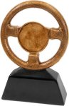 Car Show - Steering Wheel Award with 2 Insert Cars, Cycles and Racing Award Trophies