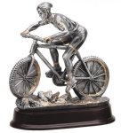 Mountain Biking (Male) - Silver Sculpture Resin Cars, Cycles and Racing Award Trophies