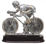 Racing Bike (Male) - Silver Sculpture Resin Cars, Cycles and Racing Award Trophies