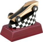 Pinewood Derby - Full Color Resin Trophy Cars, Cycles and Racing Award Trophies