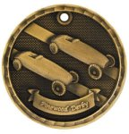 2 Gold 3D Pinewood Derby Medal Cars, Cycles and Racing Medals