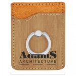 Bamboo Finish Leatherette Phone Wallet with Ring  Cell Phone Accessories