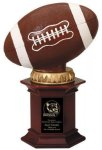 Football on Rosewood Pedestal Base Champion Trophies over $25