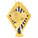 Cheer Black and Gold Sunrise Figure on Round Base     Cheer