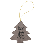 Leatherette Ornaments - 4 Styles in Gray Christmas Ornaments