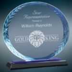 Blue Accent Oval Glass Award with Black Base Circle Awards