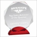 Red Accent Clear Octagon Crystal Award Circle Awards