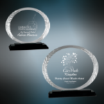 Accent Oval Glass Award with Black Base Circle Awards