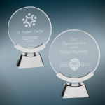 Round Voyager Glass with Silver/Black Base Clear Glass Awards