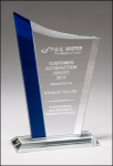 Zenith Series Glass Award with Blue Highlights Clear Glass Awards