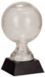 Basketball on Black Solid Marble Base Clear Glass Awards