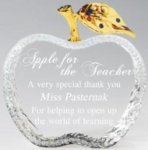 Crystal Apple with Gold Finish Leaf Clear Optical Crystal Awards