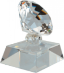 Crystal Diamond on Clear Pedestal Base Clear Optical Crystal Awards
