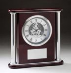 Rosewood Skeleton Clock with Aluminum Accents Clocks