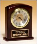 Arched Rosewood Piano Finish Desk Clock Clocks
