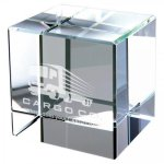 A Clear Crystal Cube Clocks and Paperweights