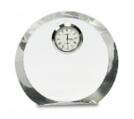 Clear Crystal Round with Clock Clocks and Paperweights