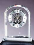 Crystal Arch Skeleton Clock - Optical Crystal Clocks and Paperweights
