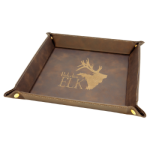 Rustic/Gold Laserable Leatherette Snap Up Tray with Gold Snaps  Coasters