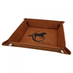 Rawhide/Blackr Laserable Leatherette Snap Up Tray with Silver Snaps   Coasters