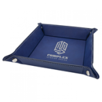 Blue/Silver Laserable Leatherette Snap Up Tray with Silver Snaps  Coasters