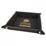 Black/Gold Laserable Leatherette Snap Up Tray with Gold Snaps Coasters