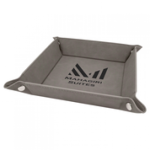 Gray/Black Laserable Leatherette Snap Up Tray with Silver Snaps    Coasters