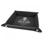 Black/Silver Laserable Leatherette Snap Up Tray with Silver Snaps  Coasters