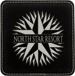 Black/Metallic Silver Leatherette Coaster   Coasters
