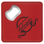 Square Red Laserable Leatherette Bottle Opener Coaster Coasters