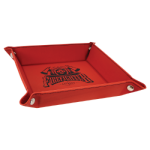 Red/Black Laserable Leatherette Snap Up Tray with Silver Snaps    Coasters
