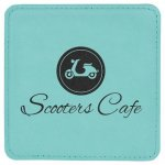 Teal Leatherette Coaster  Coasters and Koozies