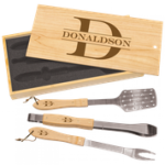 3-Piece BBQ Set in Wooden Pine Box Cooking