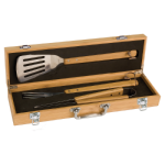 3-Piece Bamboo BBQ Set in Bamboo Case Cooking Utensils