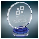 Round Facet Crystal on Blue & Clear Round Base   Corporate Crystal Awards