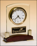 Glass and Rosewood Piano Finish Clock Crystal and Glass Clocks