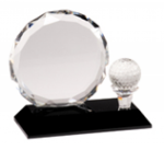 Golf - Round Facet Crystal with Golf Ball on Black Pedestal Base Crystal Golf Awards