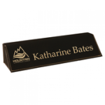 Laserable Leatherette Desk Wedge - Black to Gold Desk Name Plates and Bars