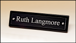 Black Piano-Finish Nameplate with Acrylic Engraving Plate  Desk Name Plates and Bars