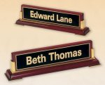 Piano Finish Nameplate - Rosewood Desk Name Plates and Bars
