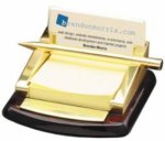Post-it Note Holder with a Rosewood Piano Finish Base Desk Pen Sets Portfolios and Business Card Holders