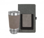 Leatherette and Canvas Portfolio and Tumbler - Gray/Gray Desk Pen Sets Portfolios and Business Card Holders