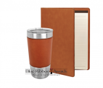Leatherette Portfolio and Tumbler - Rawhide Desk Pen Sets Portfolios and Business Card Holders