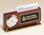 Rosewood Piano Finish Clock With Business Card Holder Desk Pen Sets Portfolios and Business Card Holders