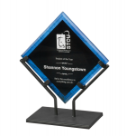 Blue Acrylic Art Plaque with Iron Stand Diamond Awards