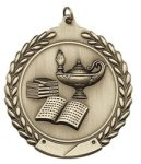 Lamp of Knowledge - Die Cast Wreath Medallion Die Cast Wreath Medallion
