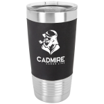 Black/White Polar Camel Tumbler with Silicone Grip and Clear Lid Drinkware